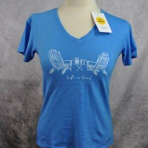 Life is Good Womens T-Shirt Adirondack Chairs